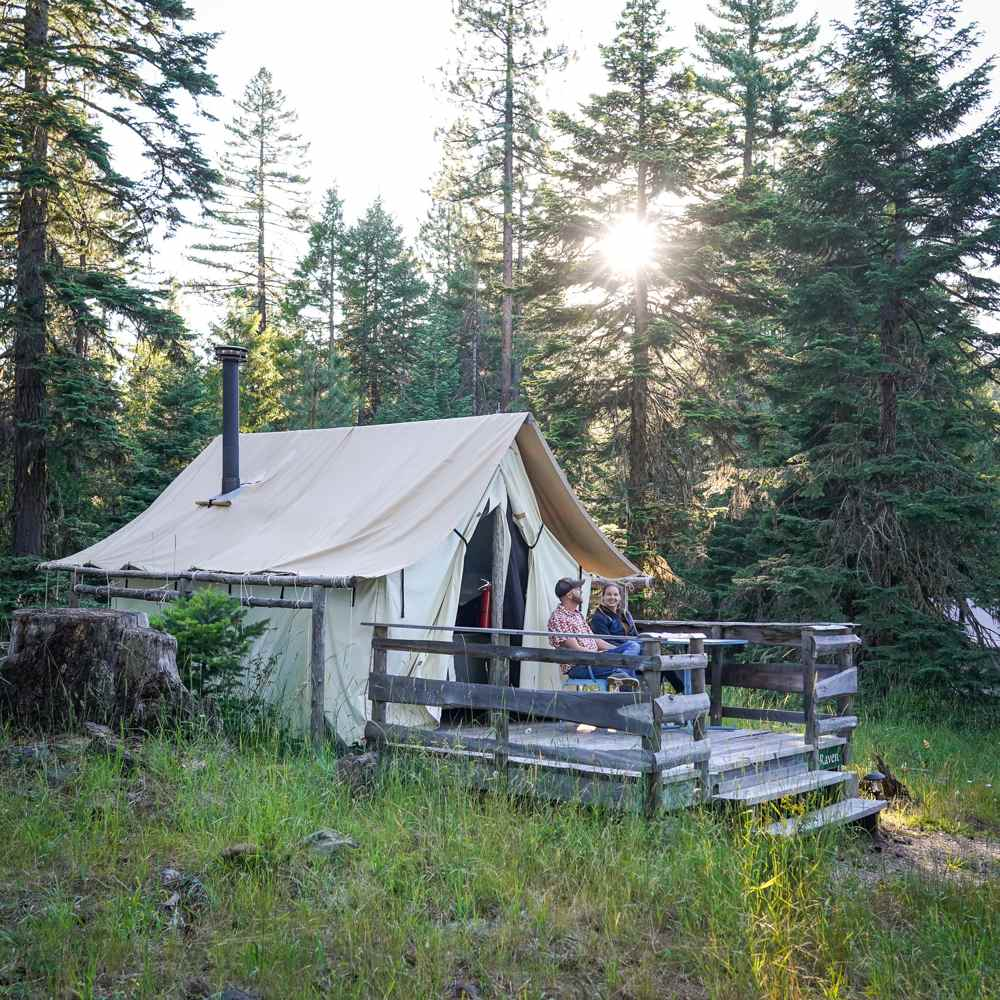 Southern Oregon farm stay tent cabin at sunset