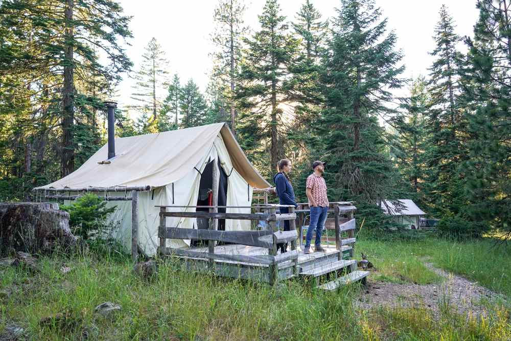 fully appointed tent cabin at Willow-Witt Ranch farm stay
