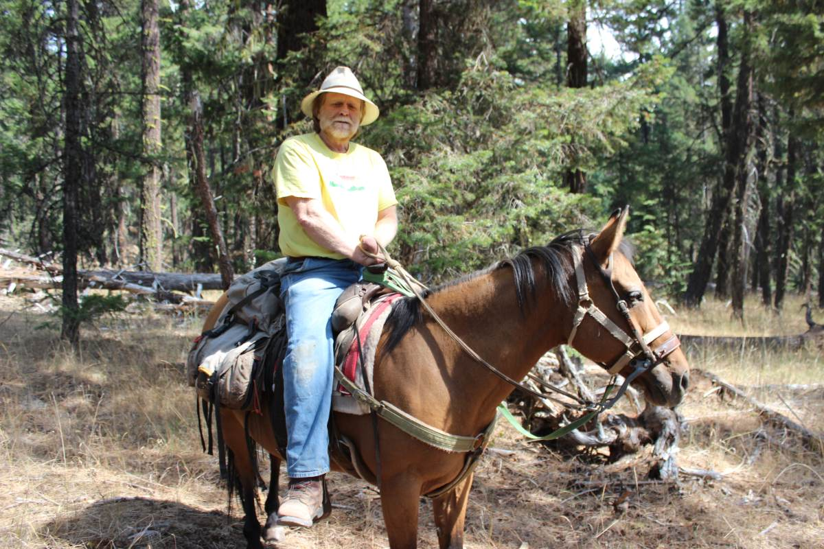 Dave Willis, President of the Soda Mountain Wilderness Council, sits on his horse in the Cascade-Siskiyou National Monument, Oregon